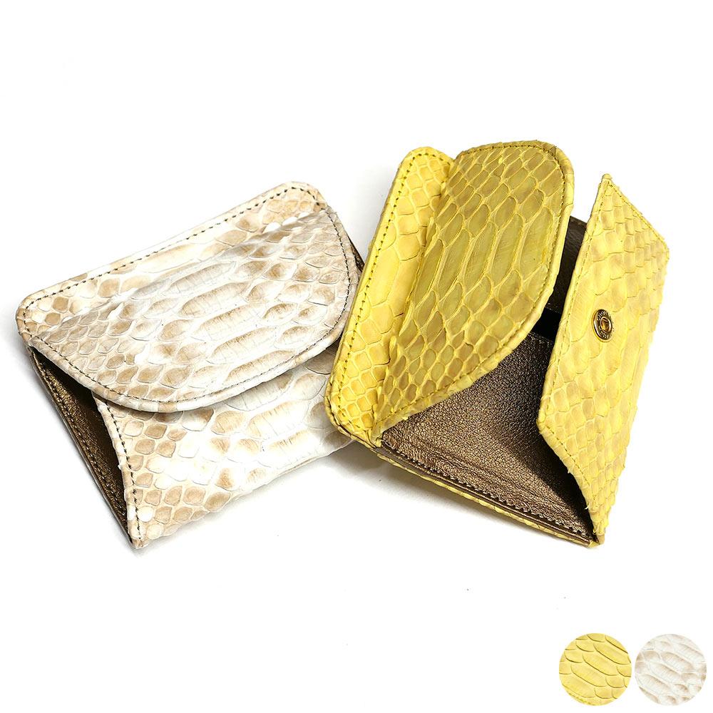 パイソン ヘビ革 本革 財布 札入れ 封筒型 ボックス小銭入れ付 ハーフブリーチ 2 全2色