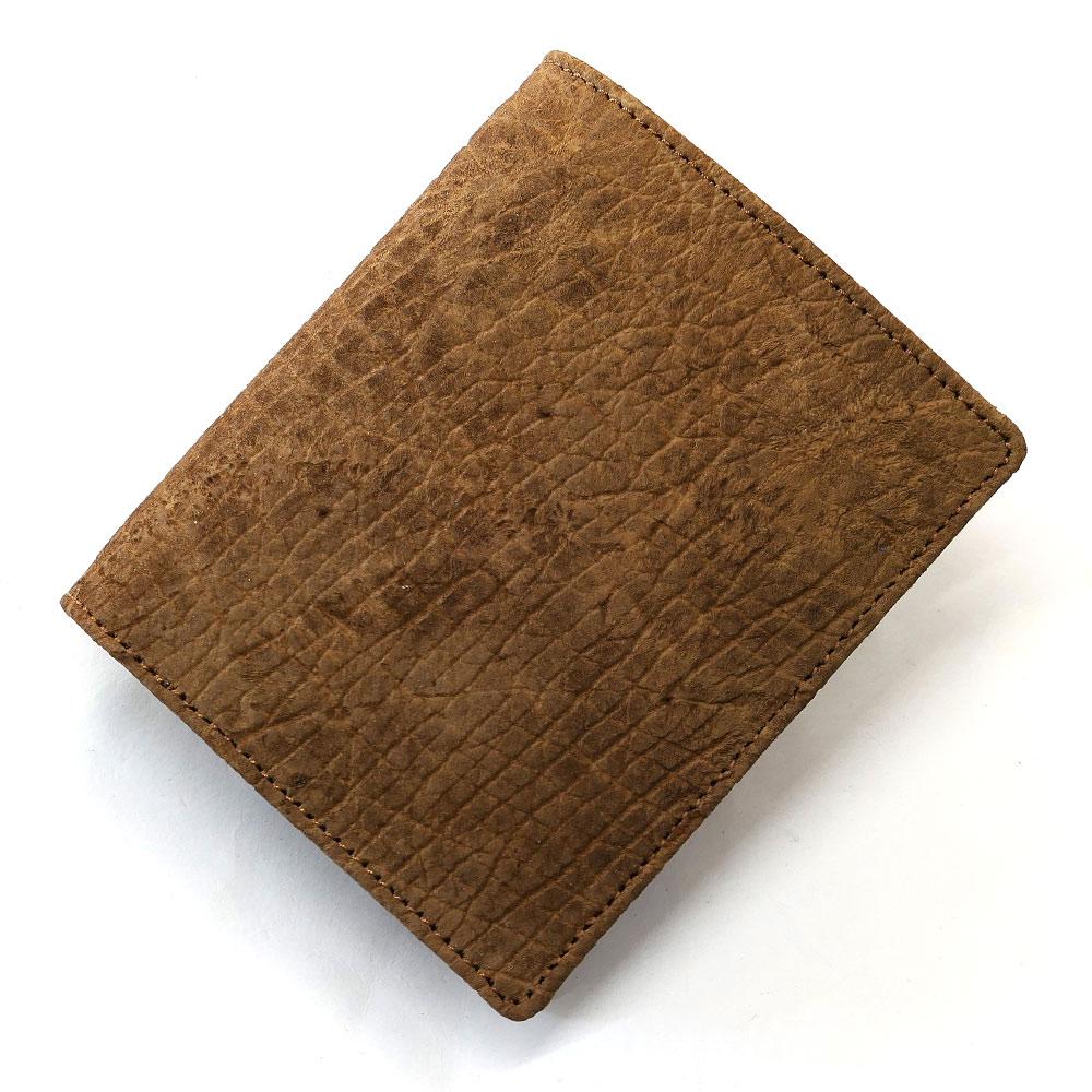 財布 メンズ 二つ折り 本革 ヒポポタマスレザー かば革 無双 ボックス型 小銭入れ付 柿渋