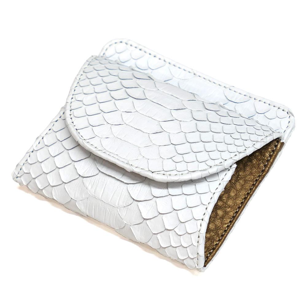 パイソン ヘビ革 本革 財布 札入れ 封筒型 ボックス小銭入れ付 マット ホワイト 2