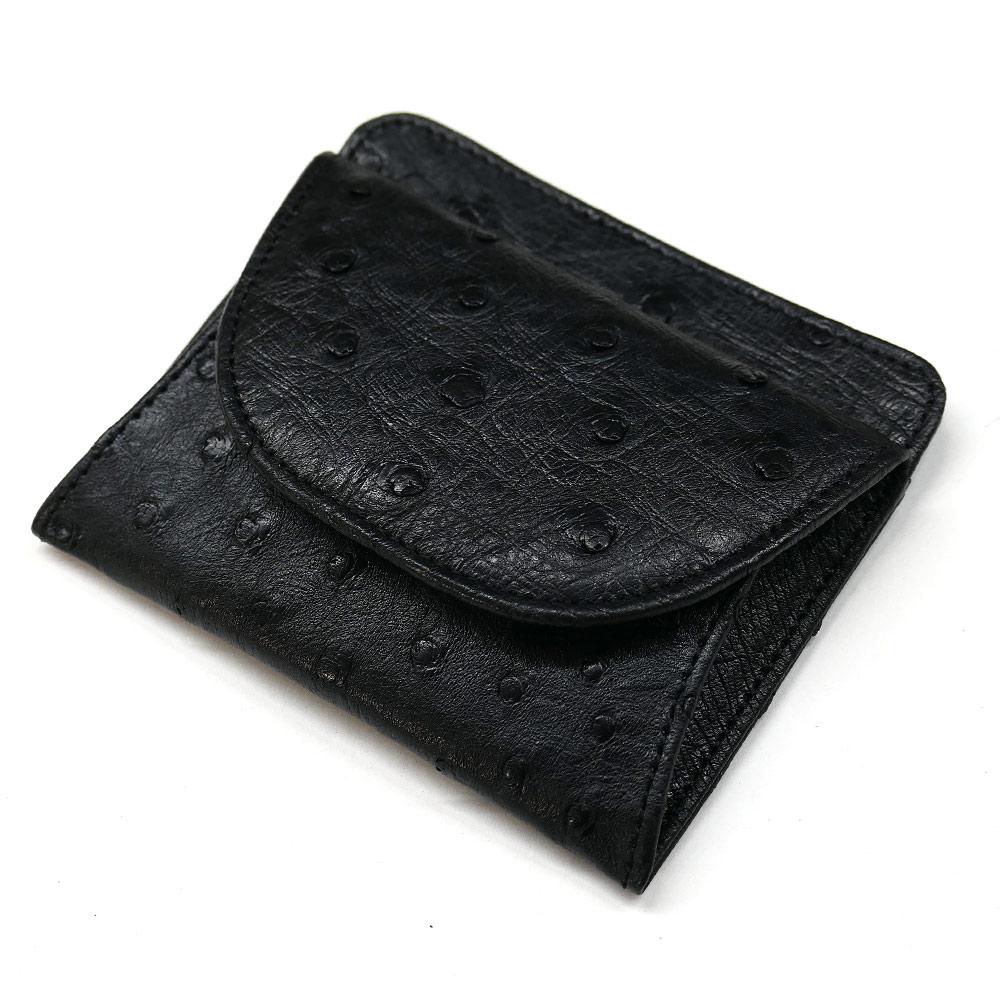 オーストリッチ ダチョウ革 本革 財布 札入れ ボックス型 小銭入れ付 マット ブラック