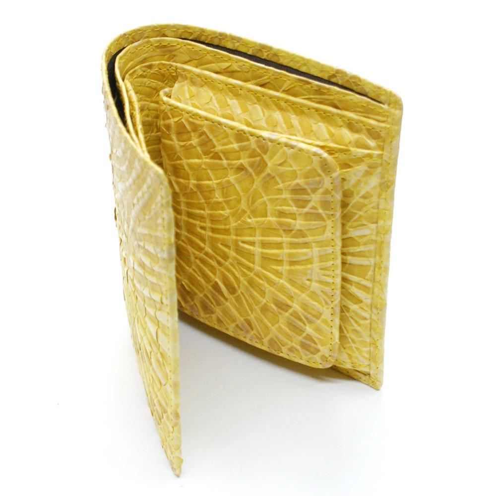 財布 二つ折り財布 折り財布 無双財布 ヘビ 蛇 パイソン 革 へび レディース財布 メンズ財布 ボックス型 小銭入れ付 カード収納 日本製 ウェーブ風型押し仕上げ イエロー