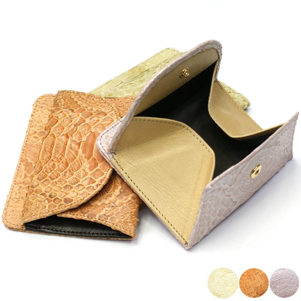 財布 札入れ サイフ さいふ 本革財布 蛇革 パイソン ヘビ革 ボックス型小銭入れ付 シンプル 薄型 コンパクト ペイズリー柄 各色 ゴールド オレンジ ピンク
