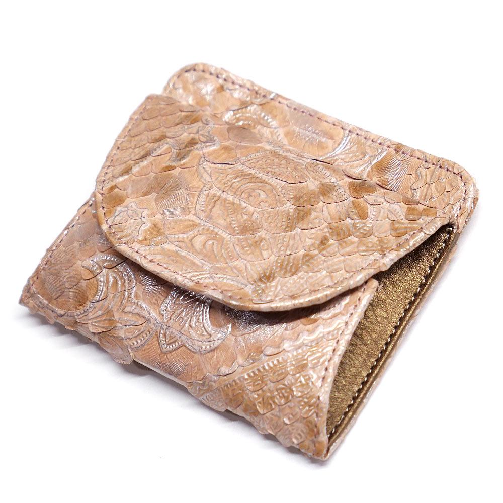パイソン ヘビ革 本革 財布 札入れ 封筒型 ボックス小銭入れ付 ペイズリー柄 ピンク 2