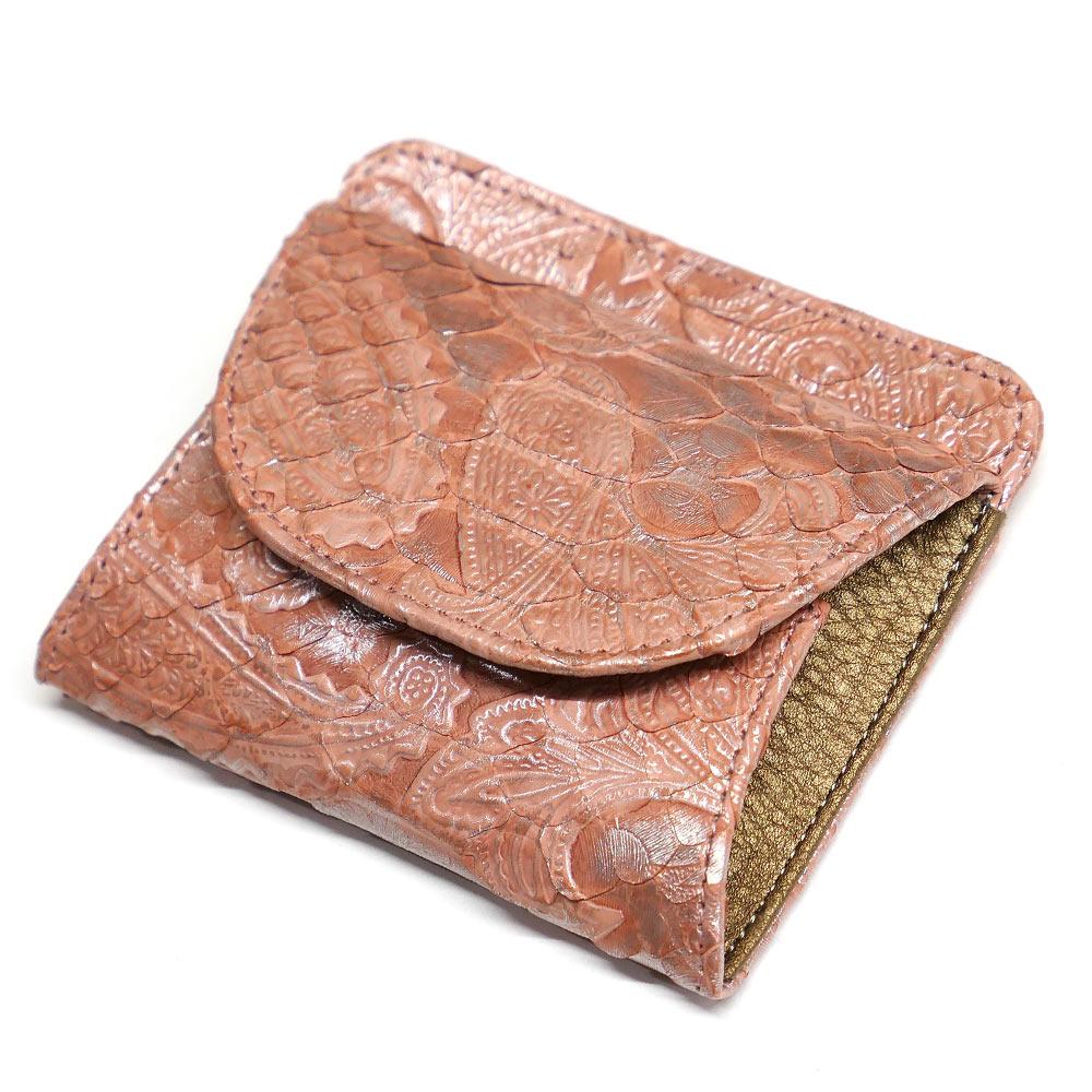 パイソン ヘビ革 本革 財布 札入れ 封筒型 ボックス小銭入れ付 プレミアム ペイズリー柄 ピンク 2