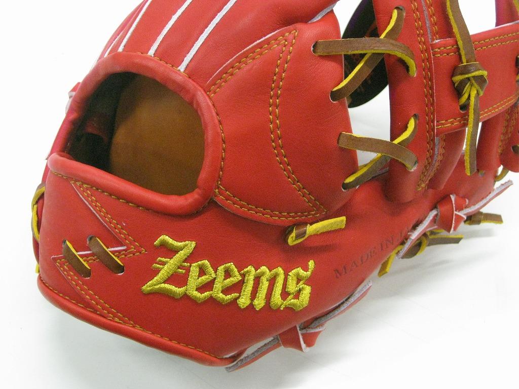 【限定モデル ラベル直接刺繍】ZEEMS 硬式内野手用 三方親シリーズ Rオレンジ Zeemsロゴ 【型付け済】