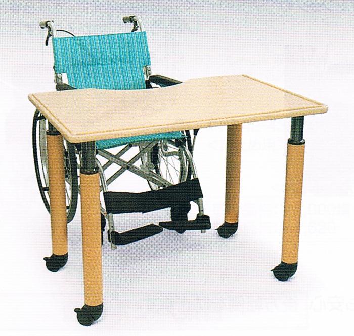 天板の高さを調整できるので車椅子の種類によって高さを調整できます。車イスの高さによって変更できる パーソナルユーステーブル【車いすテーブル】【カワムラサイクル】