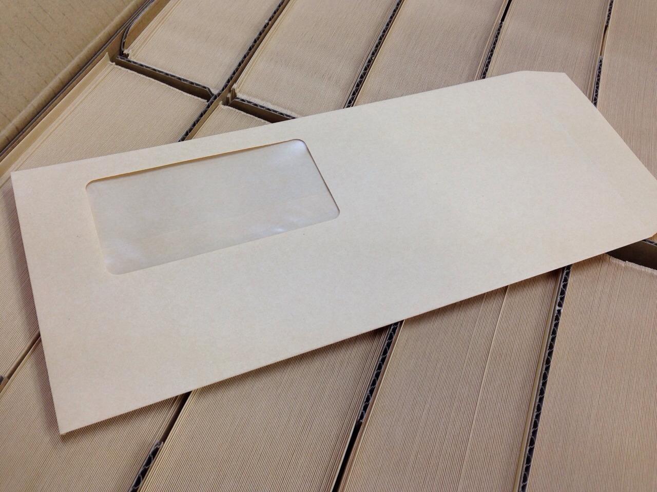 ハート クラフト封筒 洋4タテ 窓付封筒45×90mm クラフト 70g/m2 センター貼 枠なし 1000枚 lp1103