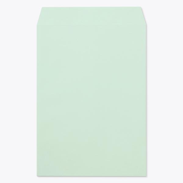 封筒 パステルカラー封筒 角2 透けないコーティング パステル グリーン 100g ヨコ貼 枠なし 500枚 kr0273