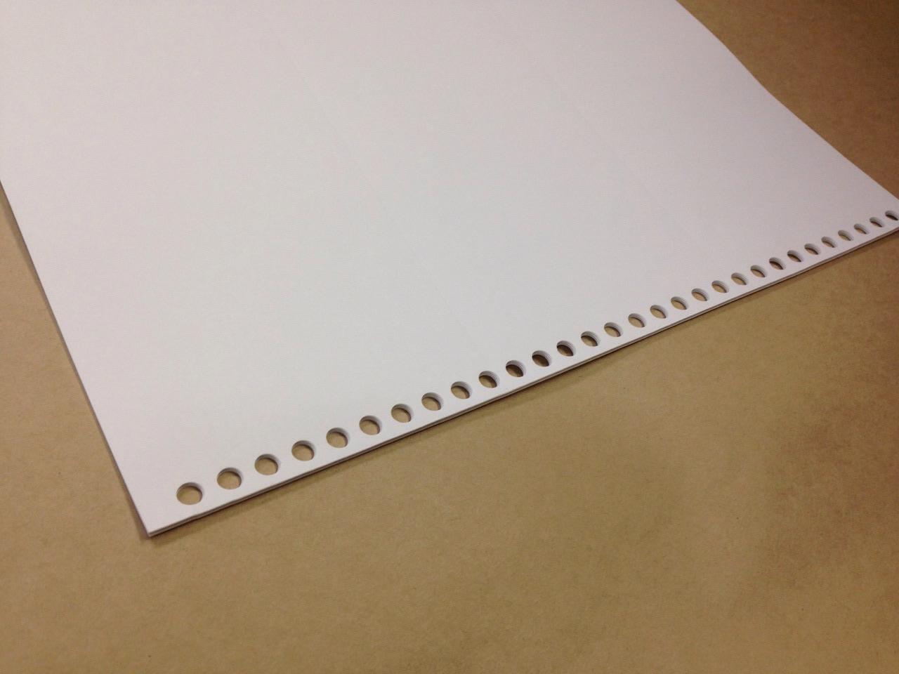 プリンタ帳票用紙 500枚(ルーズリーフ 30穴付)A4サイズ