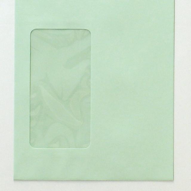 封筒 パステルカラー封筒 長3 スチック 窓付封筒 窓 45×90mm パステル グリーン 80g センター貼 枠なし 1000枚 mf3113