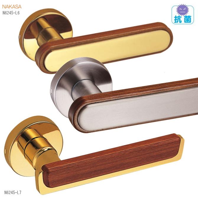 抗菌レバーハンドル 丸座 真鍮+積層 ドアレバー 空錠・チューブラ空錠ドアノブ取替用ドアハンドル。室内ドア建具の取手をDIYで取付|ドア 交換 リフォーム 新築 バリアフリー取っ手