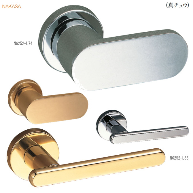 レバーハンドル 丸座 真鍮ドアレバー 空錠・表示錠・間仕切錠ドアノブ取替用ドアハンドル。室内ドア建具の取手をDIYで取付