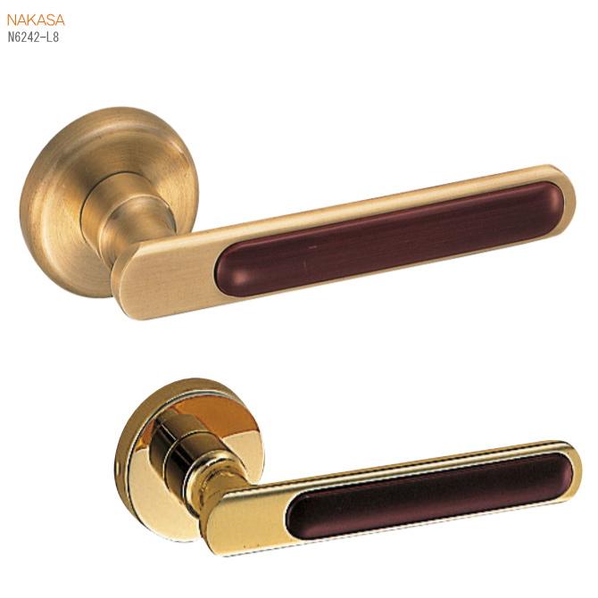 レバーハンドル 丸座 真鍮+積層 ドアレバー 空錠・チューブラ空錠・表示錠・間仕切錠ドアノブ取替用ドアハンドル。室内ドア建具の取手をDIYで取付|ドア 交換 リフォーム 新築 バリアフリー取っ手