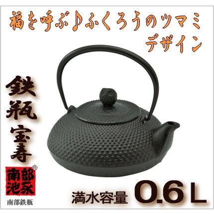 鉄瓶 宝寿(ミニ)池永鉄工 南部鉄瓶 0.6L 【承認】