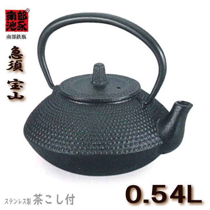 南部鉄 急須 宝山 0.54L ステンレスの茶こし付 池永 鉄鋳物【認証】