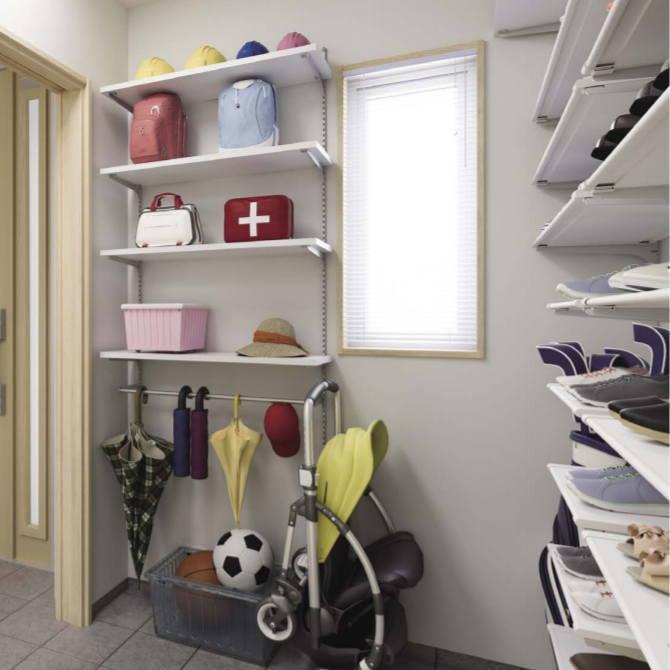 壁面収納玄関ラックセット ハンガーバー付き システム収納棚 タボレール【みごと棚】