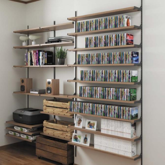 壁面薄型CDラック オーディオ機器収納棚 メディア・ゲームソフト収納システム【みごと棚】