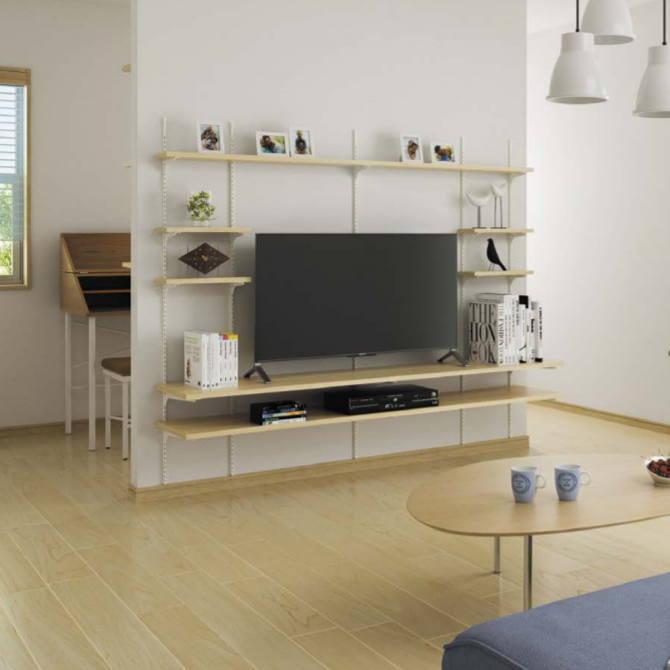 壁面テレビ収納ラックセット システム収納棚 タボレール【みごと棚】