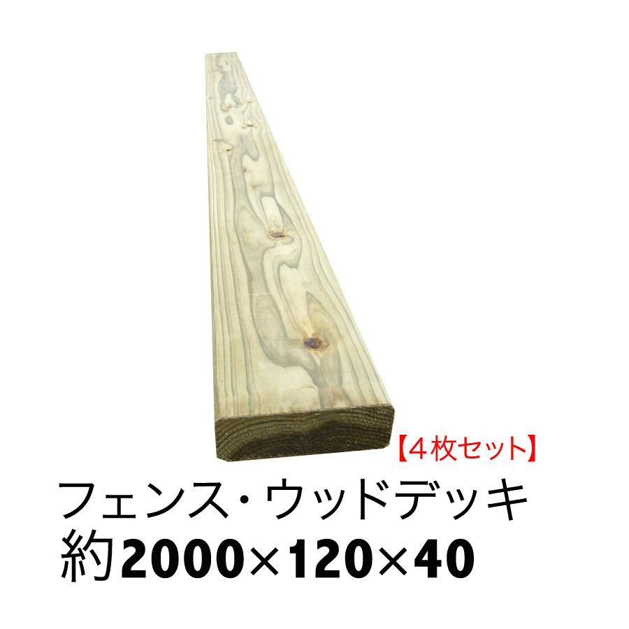 ACQ国産杉板【長さ2000mm×幅120mm×厚40mm】4枚セット【ウッドデッキ/床板/フェンス/DIY/土留め/花壇枠/プランター】