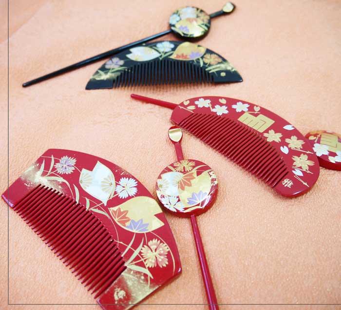 和装髪飾り  日本髪飾り 前櫛 平簪 2点セット1287