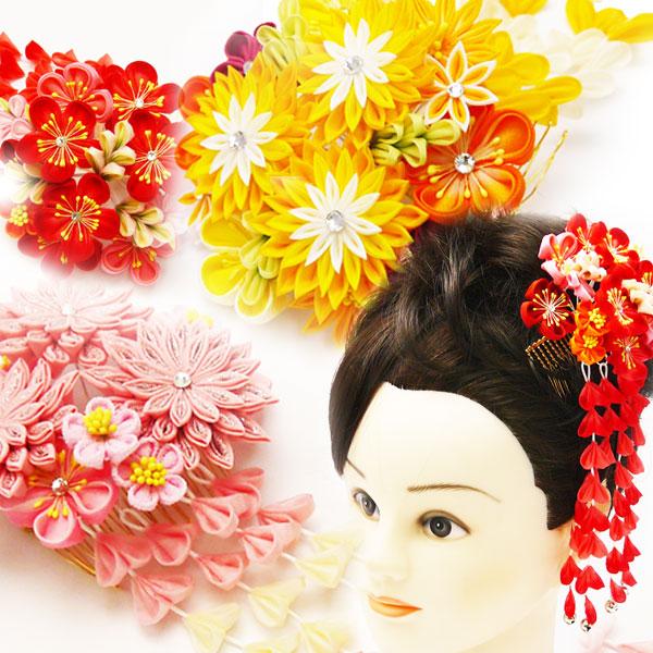 和装髪飾り つまみ細工 華コーム  赤・ピンク・オレンジ  032-0707