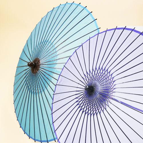 絹傘 二本継ぎ 《水色/紫》 直径約85cm007-0704