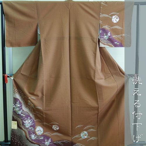 【ネット限定価格】洗える付下げ Lサイズ 灰茶色 花輪 日本製 袷(10月~5月)