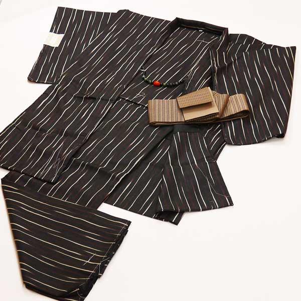 紳士用長羽織着物セットLサイズ《黒 変わり縞》襦袢シャツ・帯・羽織紐付