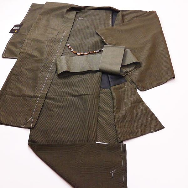 紳士用長羽織着物セットLサイズ《黒 細縞》襦袢シャツ・帯・羽織紐付