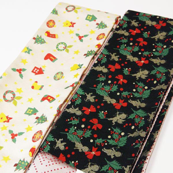 クリスマス柄 半巾帯 細帯390cm《クリーム・黒》