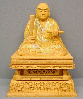 日蓮宗 仏像 日蓮聖人 楠 切金 (プラチナ・本金) 2寸5分 (身丈) 仏壇 仏具 お仏像