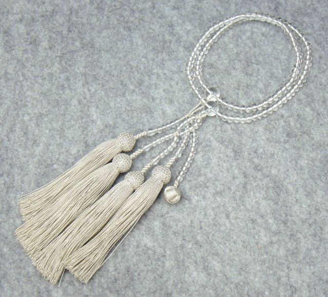 日蓮宗 本式数珠 本水晶 共玉 8寸丸玉 正絹頭付房 銀 桐箱入 送料無料 法華用 僧侶用
