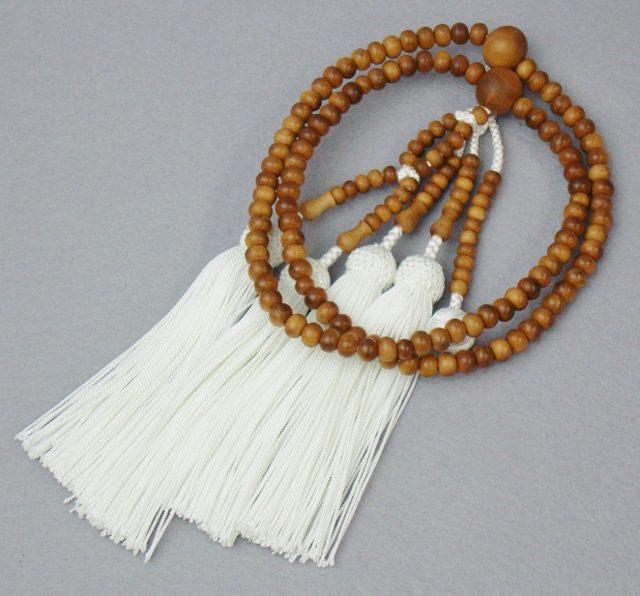日蓮宗 本式数珠 白檀 共玉 8寸丸玉 正絹頭付房 白 桐箱入 送料無料 法華用 僧侶用 サンダルウッド