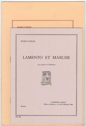 【トロンボーンアンサンブル】マルク=シャルル ラメントとマーチ4TB出版:Alphonse Leduc社 【追跡メール便OK】