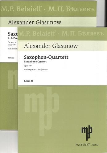 【サクソフォンアンサンブル】グラズノフ 四重奏曲 作品109 使用SAX=S.A. T.B出版:Peters社 【追跡メール便OK】