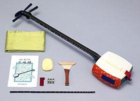 スズキ 学校用細棹三味線セット 「かえでMS-8」木製+樹脂製・のべ棹 【お取り寄せ商品】 【送料無料】