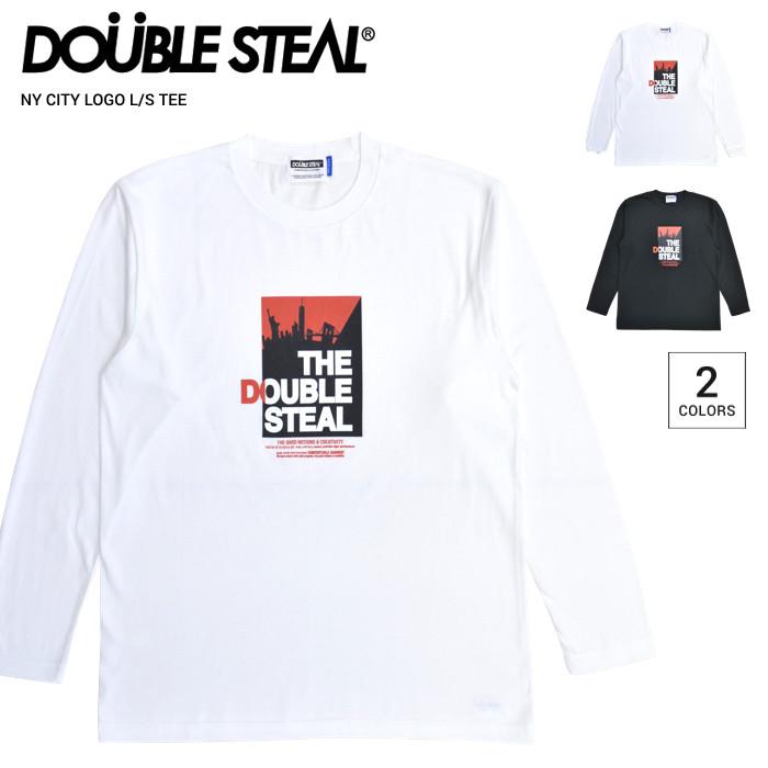 ダブルスティール DOUBLE STEAL 長袖Tシャツ 日本正規代理店商品 男性用 ストリート系 送料無料 ロゴTシャツ 割引クーポン配布中 ロンT NY CITY LOGO M-XL カットソー 長袖 爆安 S メンズ ホワイト TEE 914-14055 ブラック T-SHIRT 単品購入の場合はネコポス便発送 在庫処分 トップス Tシャツ L