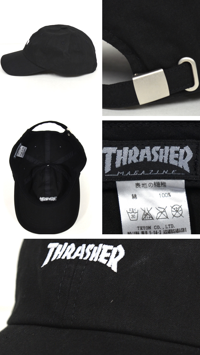 THRASHER (Thrasher) MAG LOGO SPORTS WASHED CAP low PANEL CAP Mag logo wash  Cap strap back de4c2959019