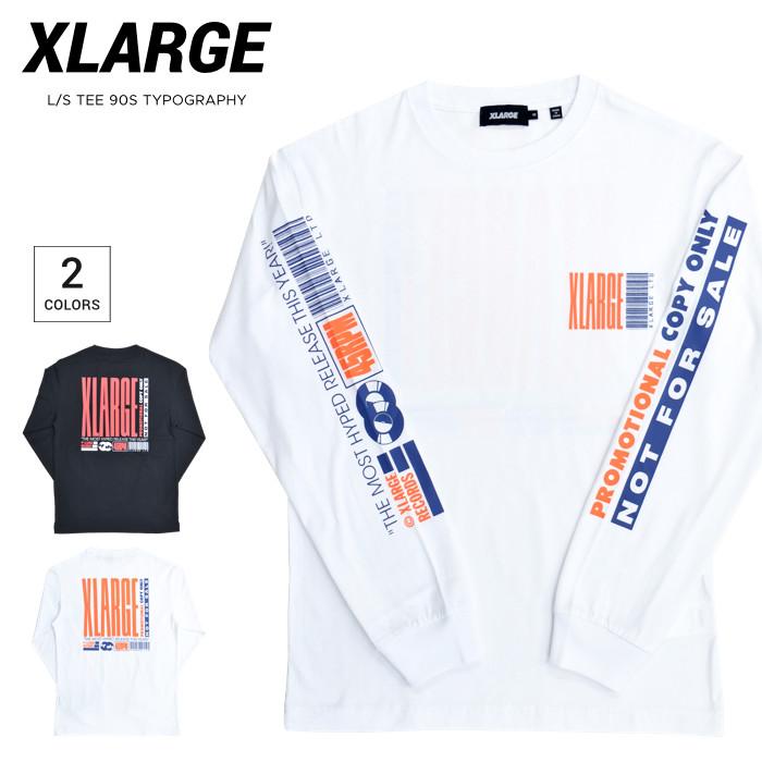 アメリカ直営店買付の本物 正規品 ストリート系 送料無料 ロゴTシャツ クルーネックTシャツ ティーシャツ 割引クーポン配布中 XLARGE エクストララージ チープ ロンT L S TYPOGRAPHY 単品購入の場合はネコポス便発送 長袖 ブラック 101212011016 メンズ S-XL 90S Tシャツ カットソー TEE 超激安 トップス ホワイト
