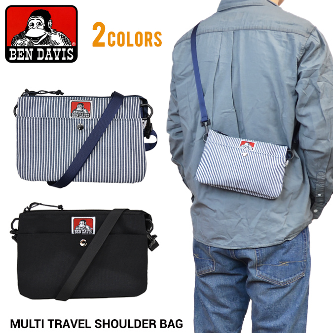 BEN DAVIS(本戴比思)MULTI TRAVEL SHOULDER BAG maruchitoraberushorudabaggusakosshubaggupochimenzuredisu bendavis