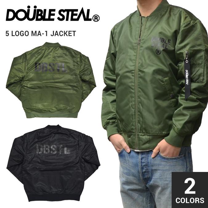 【割引クーポン配布中】 DOUBLE STEAL BLACK (ダブルスティール ブラック) 5 LOGO MA-1 JACKET フライトジャケット ミリタリージャケット ナイロンジャケット アウター メンズ ストリート 【あす楽対応】【スプリングバーゲン】
