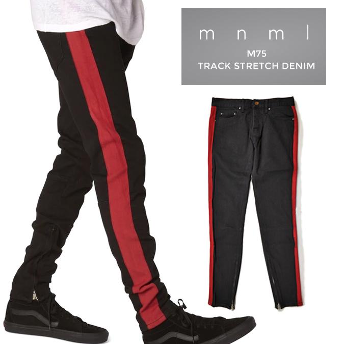 【割引クーポン配布中】 mnml (ミニマル) M75 Track Stretch Denim Black/Red M75デニム ジーンズ デニムパンツ ストレッチ ラインデニム スリム テーパード スキニー 裾ジップ メンズ 【あす楽対応】