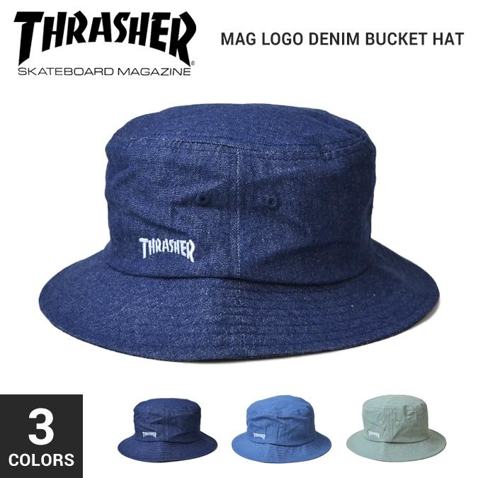 NAKED-STORE  THRASHER (slasher) MAG LOGO DENIM BUCKET HAT pail hat cap hat  men gap Dis unisex street skating  65a6ac02210