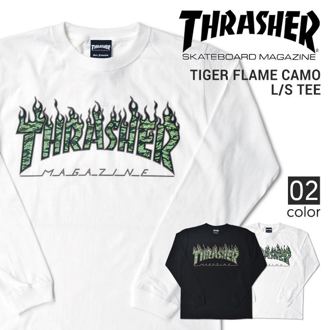 THRASHER (slasher) TIGER FLAME CAMO L/S T-SHIRT TEE T-shirt long sleeves  Ron T men crew neck T-shirt T-shirt street skating TH83225