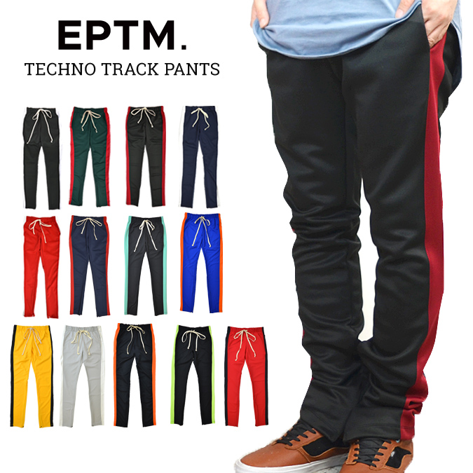 257a0cc4 EPTM (エピトミ) TECHNO TRACK PANTS trackpants jersey line underwear hem zip men  slim ...