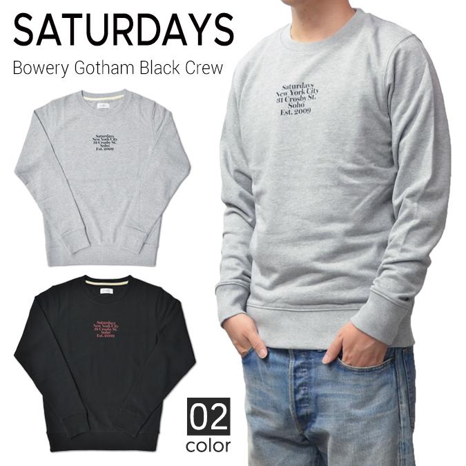 【割引クーポン配布中】 SATURDAYS NYC (サタデーズ ニューヨークシティ) Bowery Gotham Black Crew Sweatshirt クルーネック スウェット トレーナー フリース メンズ ストリート サーフ 【あす楽対応】