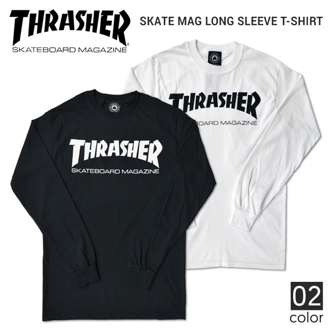 THRASHER (slasher) SKATE MAG LONG SLEEVE T-SHIRT TEE T-shirt long sleeves  Ron T men crew neck T-shirt T-shirt street skating