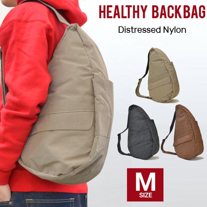 【割引クーポン配布中】 Healthy Back Bag (ヘルシーバックバッグ) ワン ショルダーバッグ ボディバッグ 鞄 AmeriBag アメリバッグ テクスチャードナイロン M Distressed Nylon 6104 【あす楽対応】
