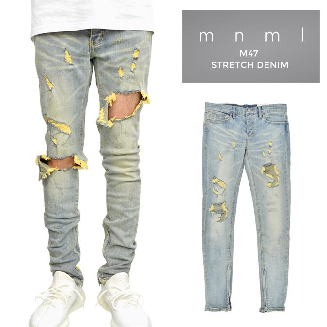 【割引クーポン配布中】 mnml (ミニマル) M47 Stretch Denim M47デニム ジーンズ デニムパンツ ストレッチ ダメージ加工 スリム スキニー 裾ジップ メンズ 【あす楽対応】