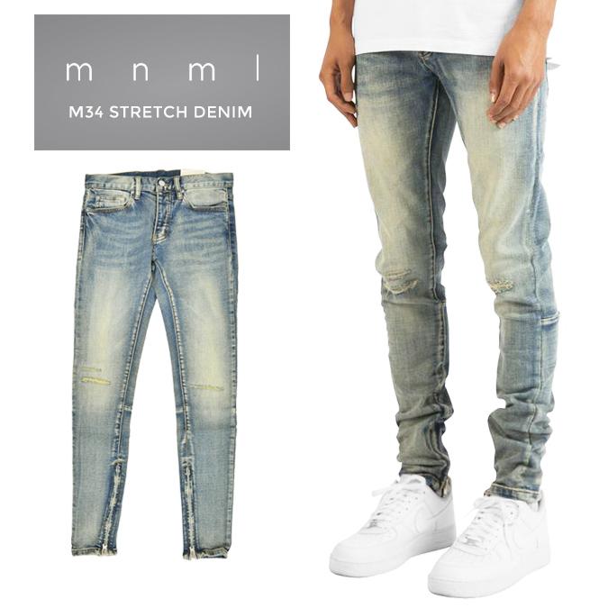 【割引クーポン配布中】 mnml (ミニマル) M34 Stretch Denim M34デニム ジーンズ デニムパンツ ストレッチ ダメージ加工 スリム スキニー 裾ジップ メンズ 【あす楽対応】